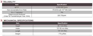 """Thông số độ tin cậy và kích thước của HDD 3.5"""" SATA 6Gb/s dòng MG05ACA800."""