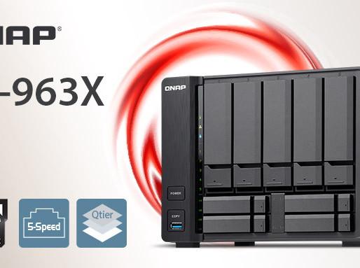 QNAP TS-963X: Máy chủ NAS 9 khay đĩa tích hợp chip 4 nhân AMD