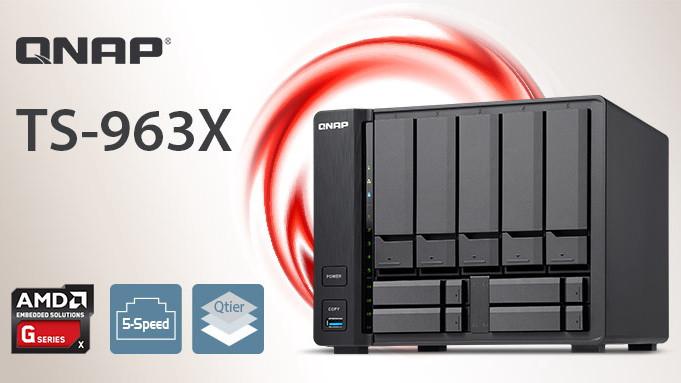 QNAP TS-963X: Máy chủ NAS 9 khay đĩa tích hợp chip 4 nhân AMD.