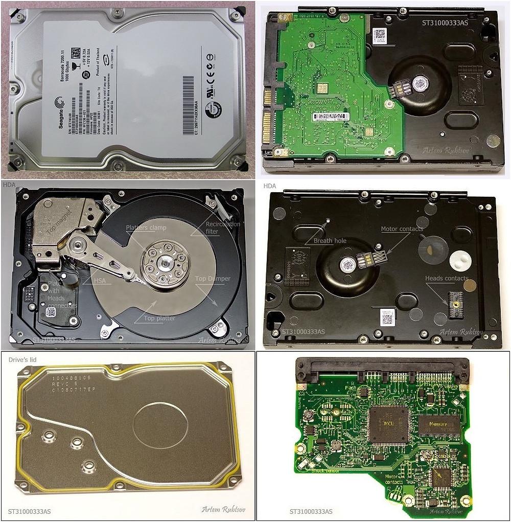 Hình chụp giải phẫu HDD Seagate ST31000333AS dung lượng 1TB.