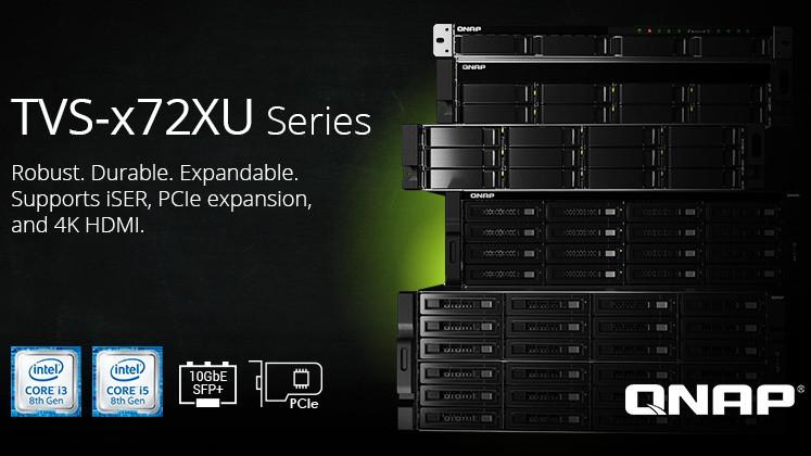 QNAP TVS-x72XU: Máy chủ NAS dạng rack  tích hợp CPU Intel thế hệ thứ 8.