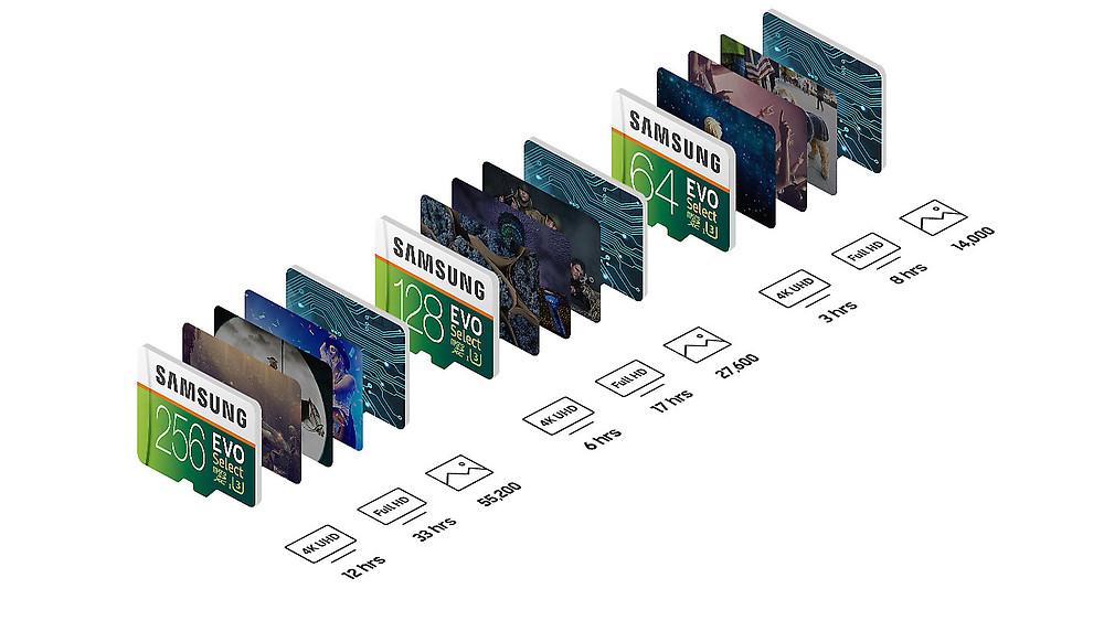 Thẻ nhớ microSDXC Samsung EVO Select 256GB có thể chứa 12 giờ video UHD 4K, 33 giờ video Full HD hay 55.200 bức ảnh.