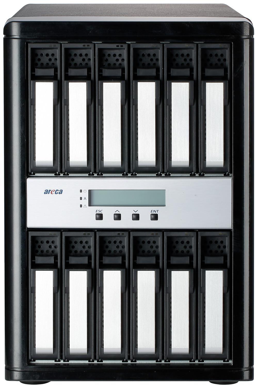 Mặt trước của hệ thống lưu trữ RAID SAS 12 Gb/s ARC-8050T3-12 Thunderbolt 3.