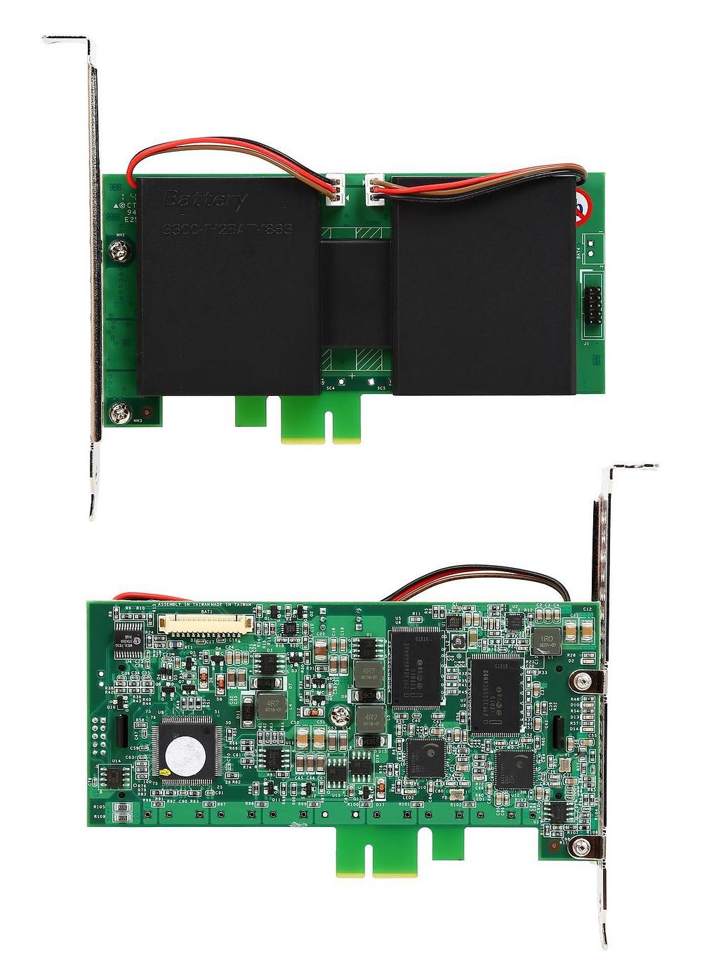 Đầu RAID 1U ARC-9200 hỗ trợ Mô-đun Pin Dự Phòng Li-ion truyền thống để bảo vệ dữ liệu cache trên bộ điều khiển RAID.