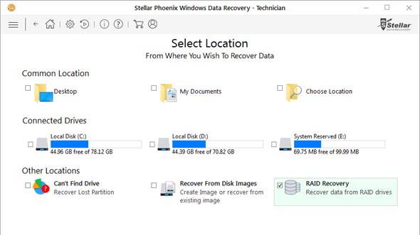 Stellar Phoenix Windows Data Recovery - Technician có khả năng cứu dữ liệu đã mất hoặc không thể truy cập từ ổ đĩa RAID 0, RAID 5 và RAID 6.