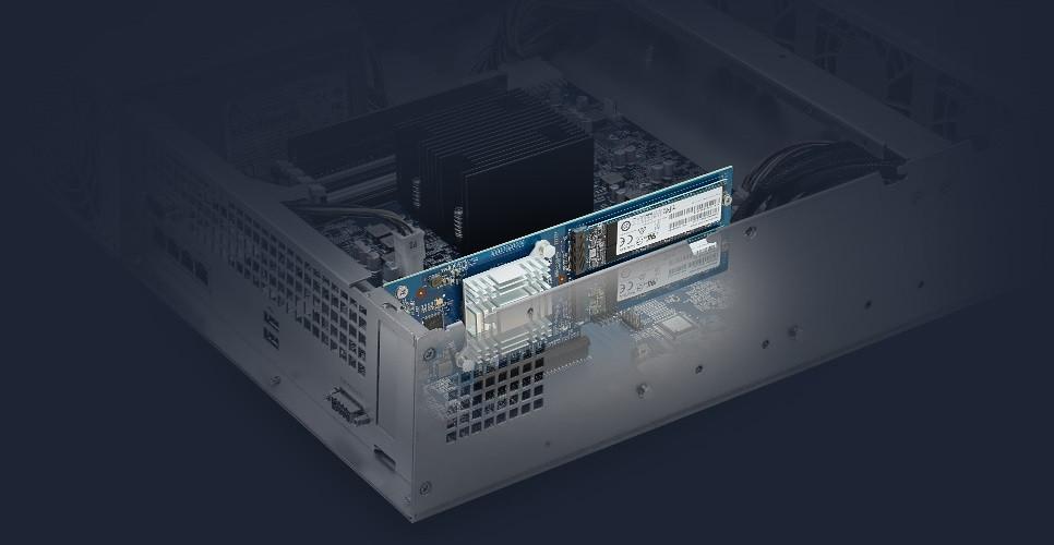 Khe PCIe cũng có thể được dùng để lắp card SSD M.2, giúp tăng đáng kể hiệu năng thông qua bộ nhớ cache SSD.
