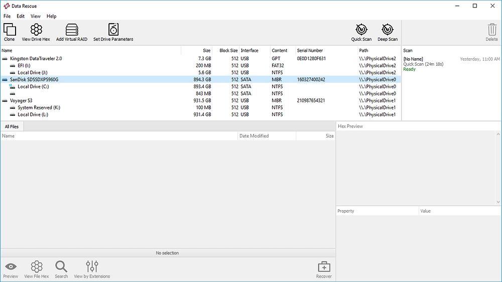 Prosoft Engineering Data Rescue Professional hỗ trợ cả hai HĐH Windows và Mac, được thiết kế cho các chuyên gia công nghệ thông tin và doanh nghiệp.