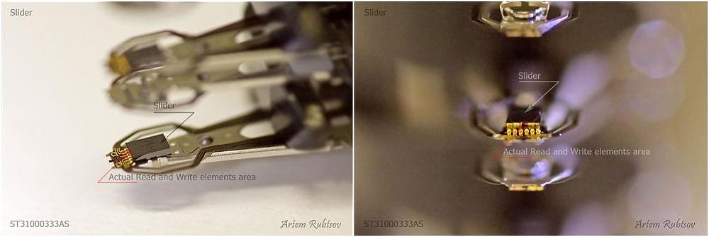 Các phần tử đọc/ghi thực sự nằm ở phía cuối của con trượt và chúng rất nhỏ bé, chỉ có thể được nhìn thấy qua kính hiển vi.