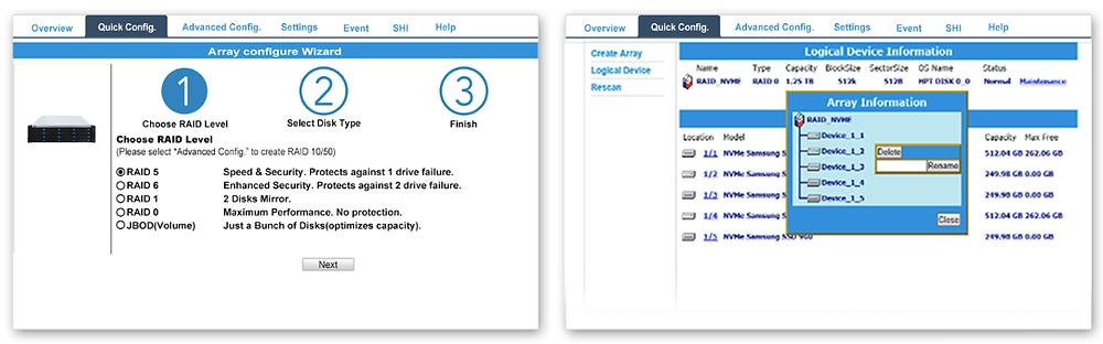 Với Array Configuration Wizard, người dùng dù ở cấp độ kinh nghiệm nào cũng có thể dễ dàng tạo một mảng RAID bất kỳ chỉ trong 3 bước.