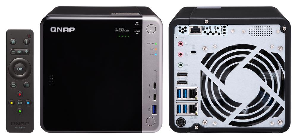 Mặt trước, mặt sau và remote RM-IR004 của máy chủ NAS TS-453BT3-8G.