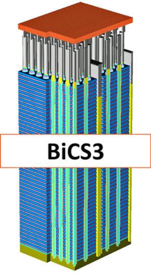 Bộ nhớ flash NAND 3D BiCS3 của WD xếp chồng 64 cell flash NAND lên nhau.