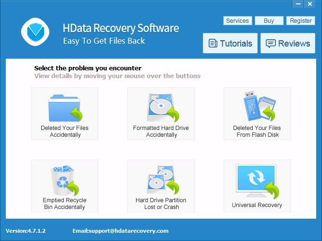 Giao diện phần mềm cứu dữ liệu HData Recovery v4.7.1.2.
