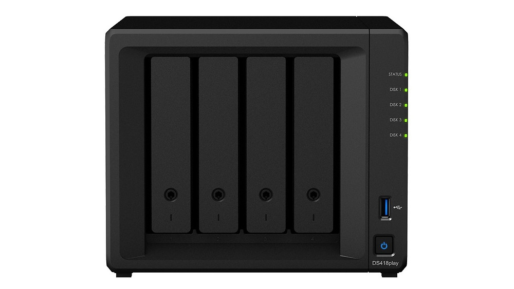 "Synology DiskStation DS418play: Máy chủ NAS 4 khay HDD/SSD 2.5""/3.5""."