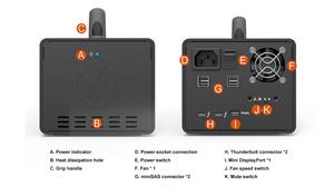 Mặt trước và mặt sau của hệ thống RAID cứng di động Stardom AR0080-TB3.
