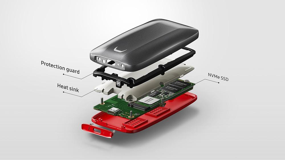 X5 nặng 150g, bao gồm khung chống sốc và tấm tản nhiệt ở bên trong. Ngoài ra, ổ đĩa còn có khả năng bảo vệ dữ liệu với kỹ thuật mã hóa phần cứng AES 256-bit.