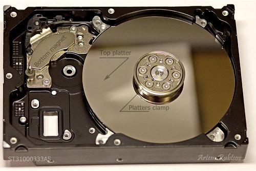 Đây là bộ phận HDA khi không có dumper trên cùng và HSA. Ta có thể thấy rõ thanh nam châm dưới (bottom magnet), đĩa từ trên cùng và nắp kẹp đĩa từ.
