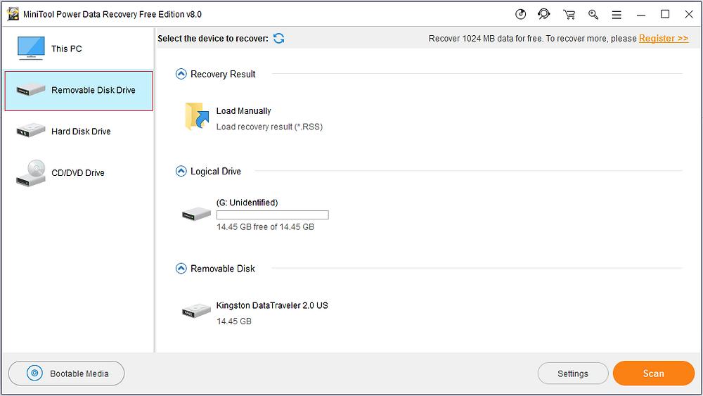 Bước 1: Mở phần mềm MiniTool Power Data Recovery Free Edition v8.0 và chọn mô-đun cứu dữ liệu phù hợp.
