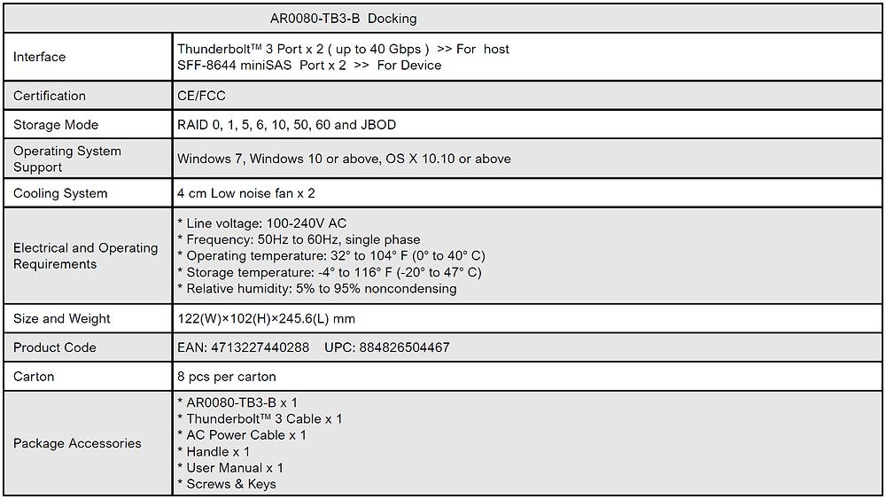 Thông số kỹ thuật của hệ thống RAID cứng di động Stardom AR0080-TB3.