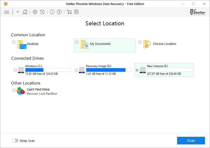 """Sau đó, chọn đường dẫn của dữ liệu đã xóa và click """"Scan""""."""