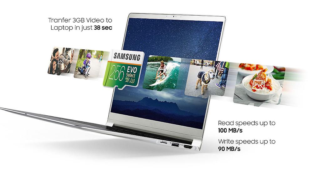 Thẻ nhớ microSDXC Samsung EVO Select 256GB có tốc độ đọc và ghi lần lượt lên đến 100 MB/s và 90 MB/s thông qua giao tiếp UHS-I.