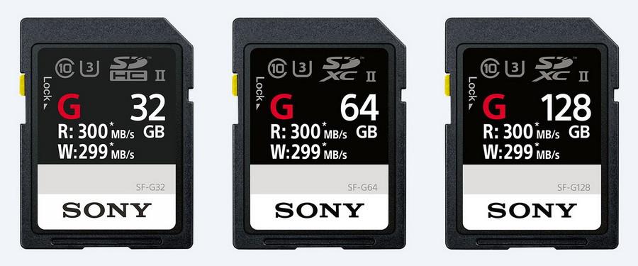 Các thẻ nhớ SF-G dung lượng 32GB, 64GB và 128GB của Sony.
