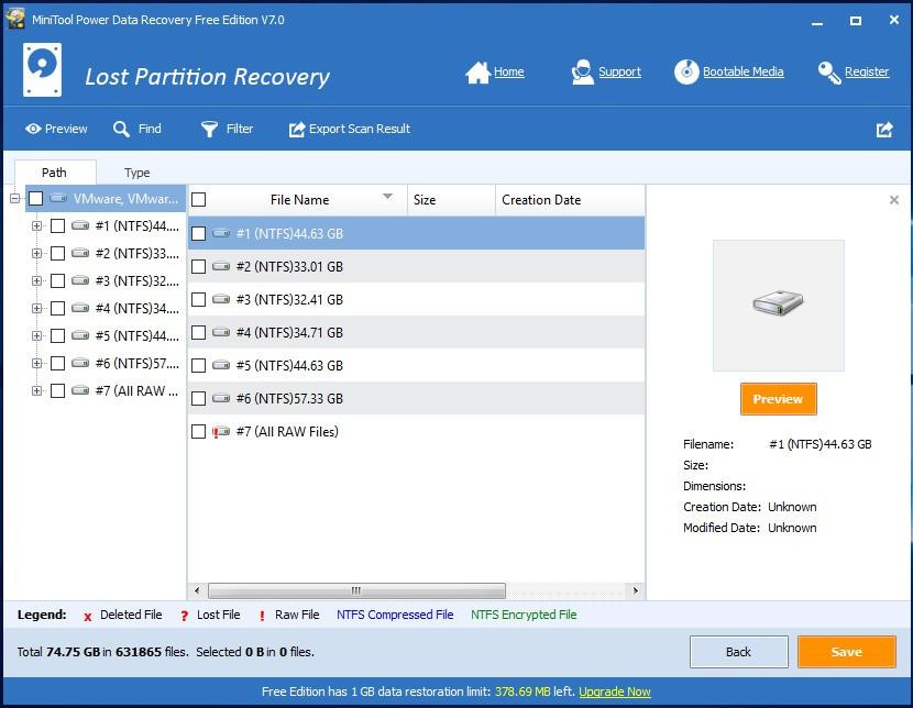 Kết quả sau khi quét xong trong mô-đun Lost Partition Recovery - phần mềm cứu dữ liệu MiniTool Power Data Recovery v7.0.