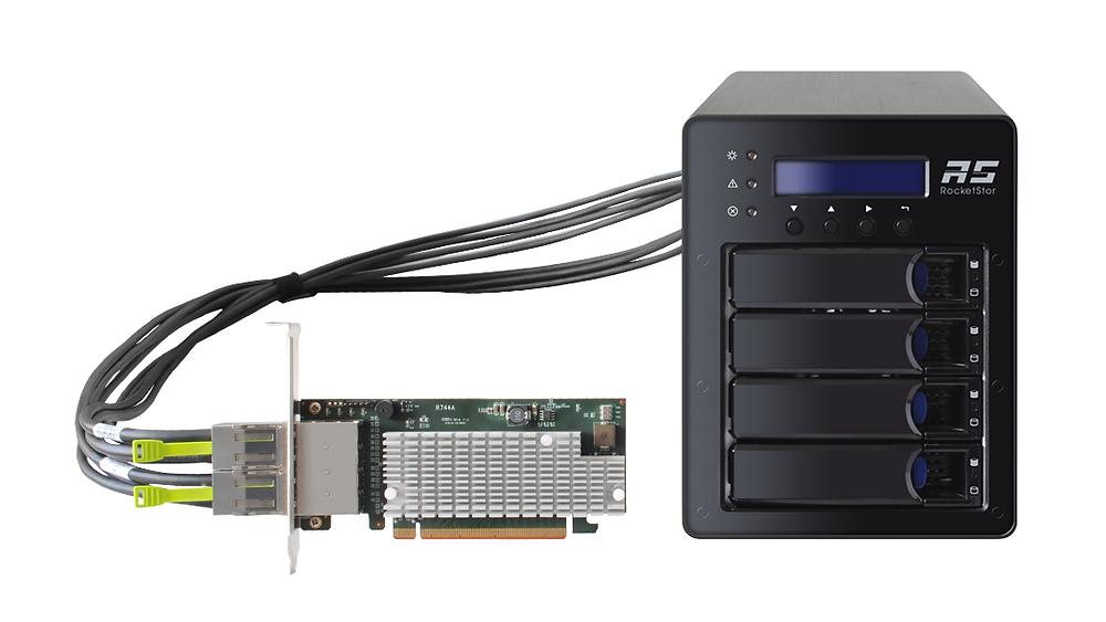 Hệ thống RAID SSD6540 gồm 4 khay SSD NVMe U.2, card điều khiển PCIe 3.0 x16 có đầu cắm SFF-8644 gắn ngoài, hai cáp truyền dữ liệu SFF-8644 8x, bộ nguồn và những phụ kiện khác.