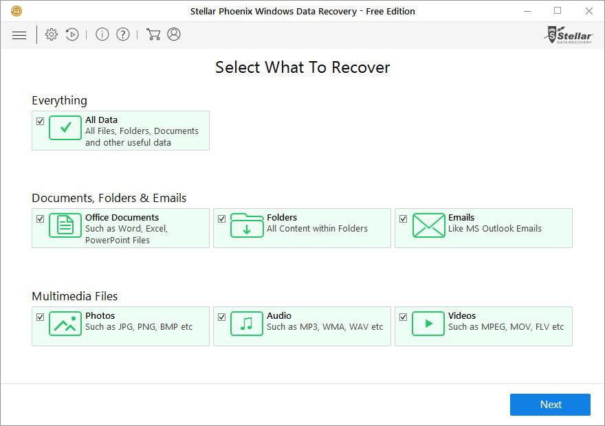 Chạy Stellar Phoenix Windows Data Recovery - Home và chọn loại dữ liệu mà bạn muốn khôi phục.