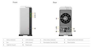 Mặt trước và mặt sau của NAS Synology DiskStation DS119j.