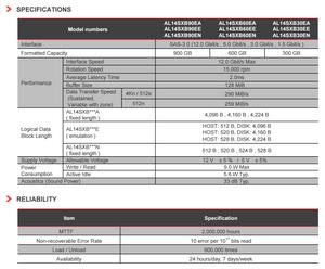 """Thông số kỹ thuật của dòng ổ cứng Toshiba 2.5"""" 15K SAS 12G AL14SX."""