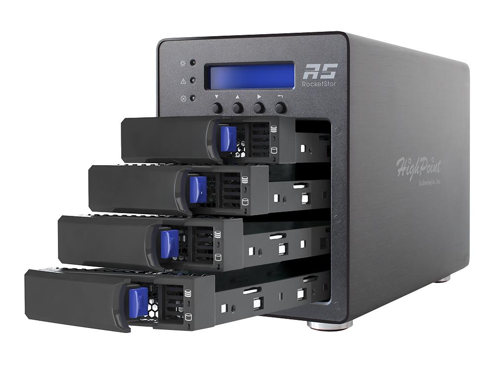 RocketStor 6124V gồm có 4 khay, kích thước nhỏ gọn, hỗ trợ tới 4 ổ cứng SATA 14TB.