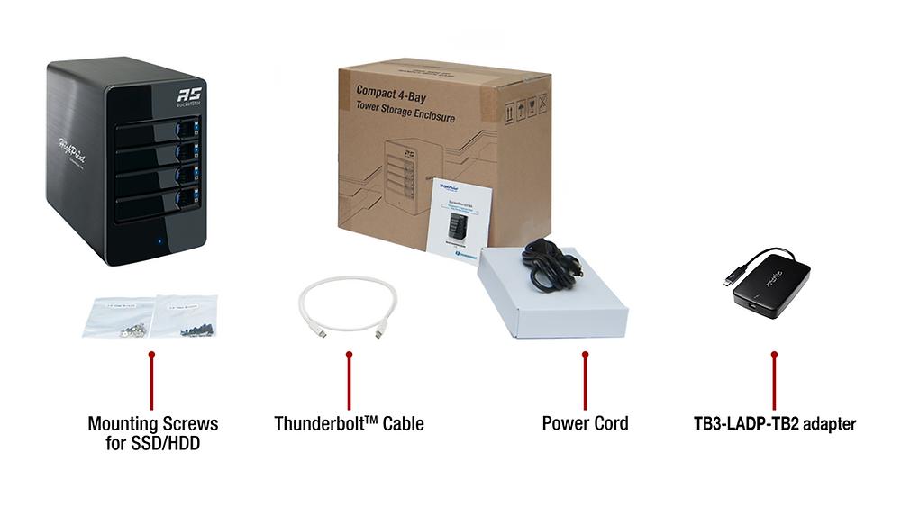 Trọn bộ sản phẩm hệ thống RAID cứng 4-khay Thunderbolt 3 HighPoint RocketStor 6314B.