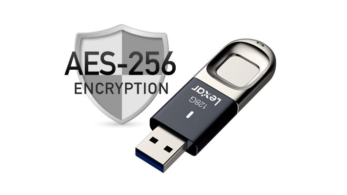USB 3.0 JumpDrive Fingerprint F35 bảo vệ dữ liệu bằng kỹ thuật mã hóa AES 256-bit tiên tiến.