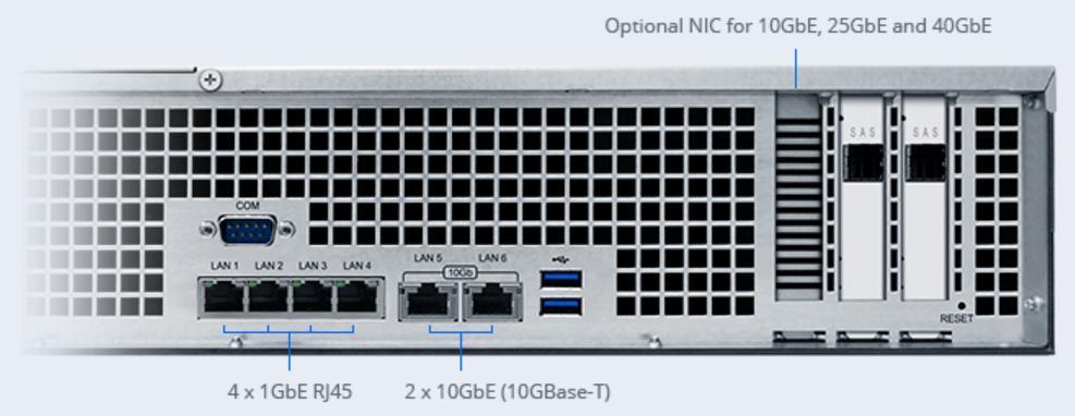 Máy chủ NAS Synology FlashStation FS2017 có 4 cổng RJ45 1 GbE, cùng 2 cổng hỗ trợ 10 GbE (chuẩn 10GBase-T), kèm thêm tùy chọn card mạng có thể được lắp vào khe PCIe, cung cấp tốc độ truyền dữ liệu 10 GbE / 25 GbE / 40 GbE.