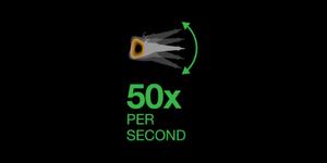 Cuộn dây di động dịch chuyển đủ nhanh để quay cánh tay đòn từ phía ngoài vào phía trong đĩa từ (toàn trình) với tần suất trên 50 lần mỗi giây!
