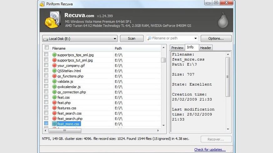 Giao diện phần mềm cứu dữ liệu Piriform Recuva.