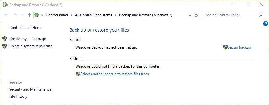 Cho phép chức năng Windows Backup trong Windows 10 để có thể khôi phục dữ liệu từ bản sao lưu.