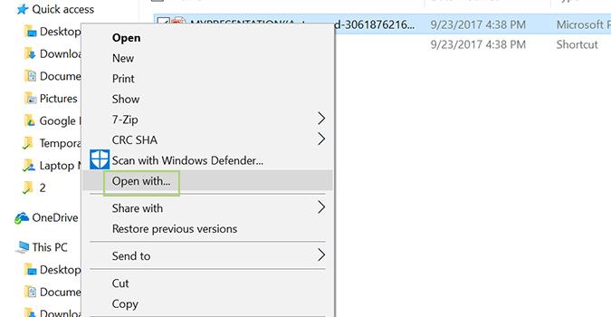 """BƯỚC 7: Click phải vào tập tin PowerPoint, chọn """"Open with""""."""