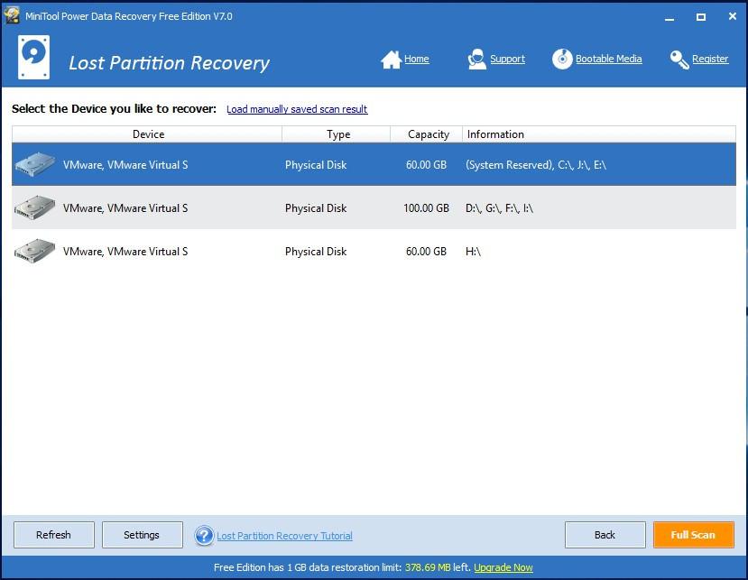 Danh sách các ổ đĩa vật lý được nhận diện trong mô-đun Lost Partition Recovery - phần mềm cứu dữ liệu MiniTool Power Data Recovery v7.0.