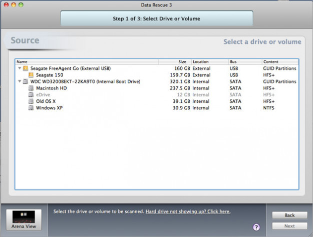 Giao diện phần mềm cứu dữ liệu Data Rescue 3.