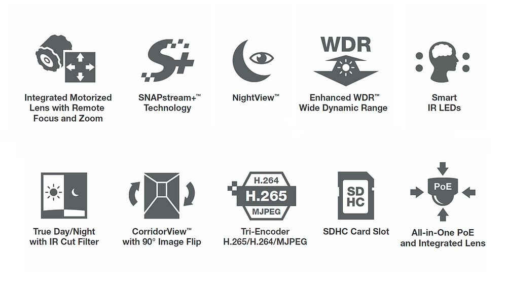 Camera megapixel IP Contera Indoor Dome mới sở hữu nhiều tính năng tiên tiến như ống kính di động, SNAPstream+, NightView, Enhanced WDR, LED hồng ngoại thông minh, kính lọc hồng ngoại ngày/đêm...