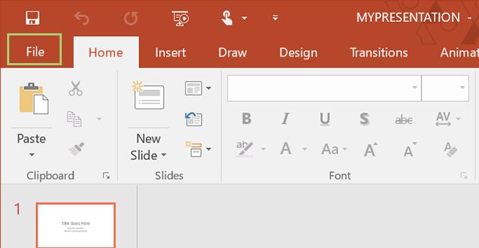 """BƯỚC 1: Mở một trang trắng (Blank Presentation) trong Microsoft PowerPoint và click thẻ """"File""""."""