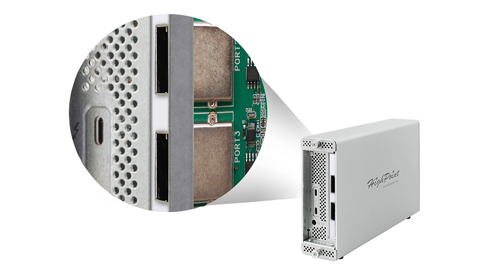 Người dùng có thể nhanh chóng bổ sung 8 cổng SAS/SATA 6 Gb/s và khả năng RAID cứng mạnh mẽ cho máy tính Mac hoặc Windows có giao tiếp Thunderbolt 3 bằng cách sử dụng cáp kết nối.