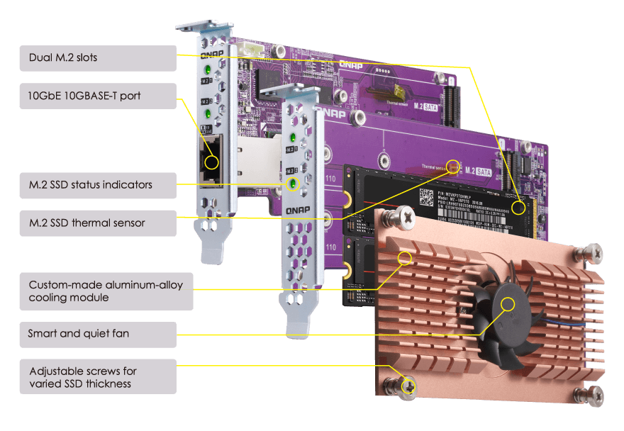 TS-x53BU tích hợp một khe cắm PCIe cho phép lắp đặt adapter SSD M.2 / LAN 10 GbE QM2 để tăng hiệu năng bộ nhớ cache và cung cấp kết nối 10 GbE.