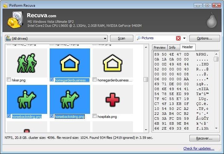 Phần mềm cứu dữ liệu Recuva.