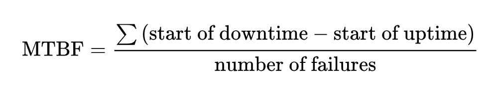 MTBF của một thiết bị là tổng độ dài của các khoảng thời gian hoạt động chia cho số lần mắc lỗi quan sát được.