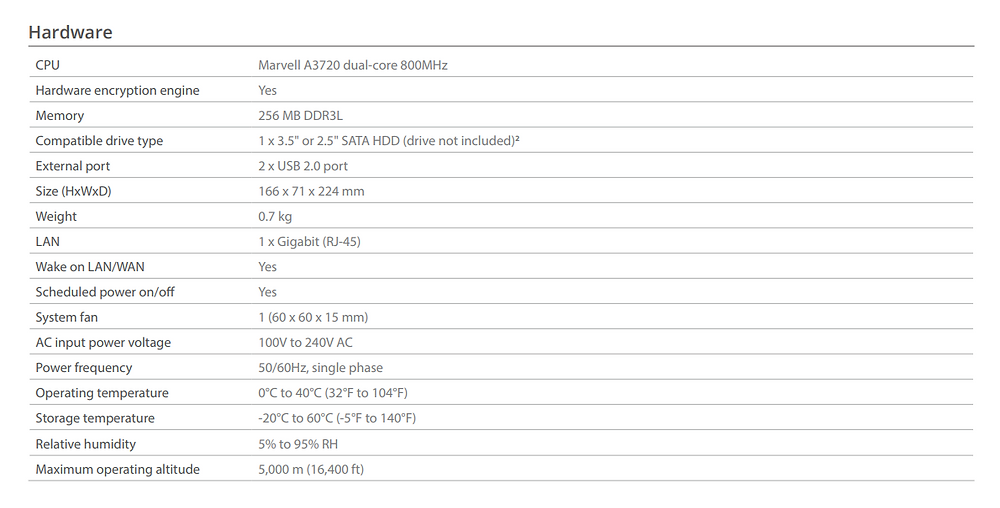 Thông số kỹ thuật phần cứng của thiết bị NAS Synology DiskStation DS119j.