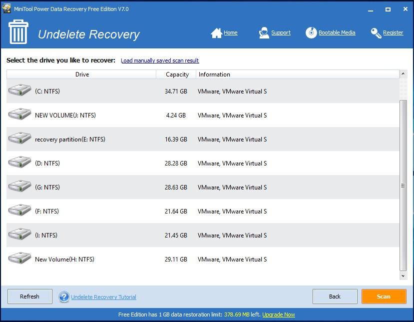 Danh sách phân vùng ổ đĩa trong mô-đun Undelete Recovery - phần mềm cứu dữ liệu MiniTool Power Data Recovery v7.0.