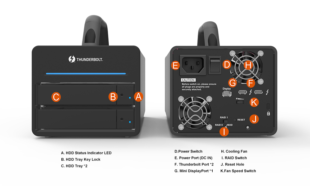 Mặt trước và mặt sau của hệ thống RAID di động Stardom DR2-TB3.