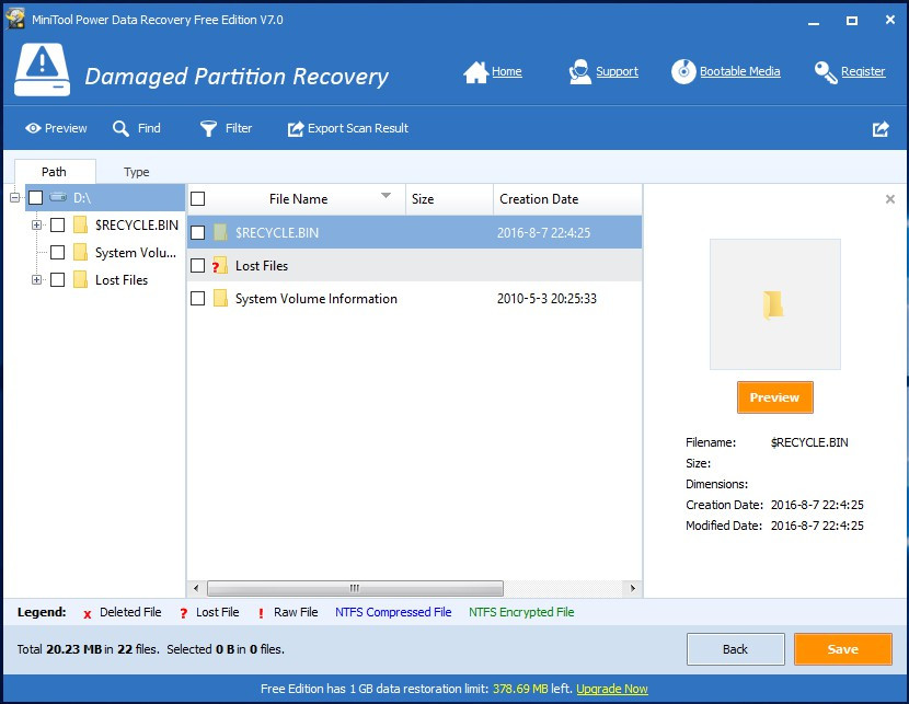 Kết quả sau khi quét xong trong mô-đun Damaged Partition Recovery - phần mềm cứu dữ liệu MiniTool Power Data Recovery v7.0.